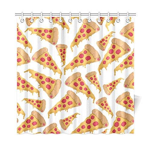 JEOLVP Home Decor Bad Vorhang Nahtlose Muster Einer Scheibe Pizza Mit Salami Auf W Polyester Stoff Wasserdicht Duschvorhang Für Badezimmer, 72 X 72 Zoll Duschvorhänge Haken Enthalten