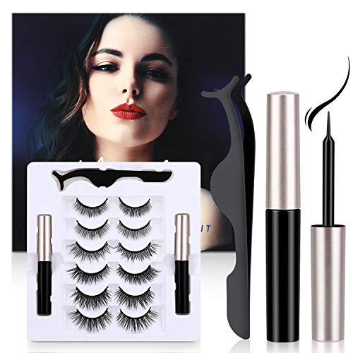 Faux Cils Magnétique, Winpok 3D Naurel Magnétique Eyeliner Kit, 6 Styles Faux Cils Réutilisables professionnels,...