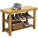 UDEAR Shoe Rack Bench, 3-Tier Bamboo Shoes Storage Organiser,Entryway Bathroom Living Room and Corridor Shoe Rack,Nature