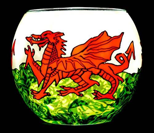 Benaya portacandela di vetro Nightlight–Welsh Dragon