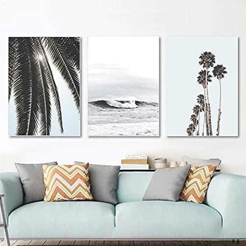 Arte de pared tropical palmeras impresiones océano póster paisaje marino lienzo pintura nórdica cuadros de pared para sala de estar decoración costera