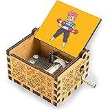 Caja de música grabada con manivela de madera fuerte como la montaña, caja de música clásica, regalo antiguo