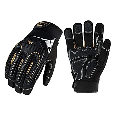 Vgo 3-Pairs Heavy-Duty Synthetic Leather Work Gloves, Impact Protection Mechanic Gloves, Rigger Gloves, High Dexterity, Vibration Reduction, Touchscreen Capable (Size M, Black, SL8849)