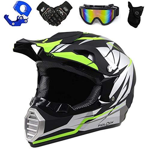Mopedhelm Motocross Helm, PKFG Serie HM-713 Motorradhelm Set Herren Damen Fullface Motorrad DH Cross Offroad Enduro Quad Mountainbike Helme mit Visier Brille Handschuhe Maske,BlackWhite~S