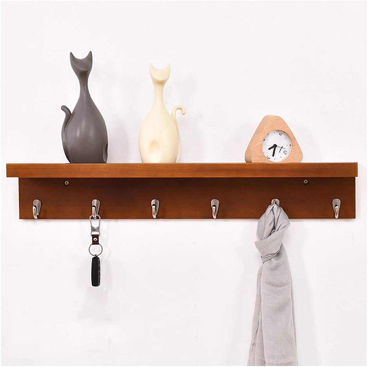 Coat Hanger Coat Rack Creative Solid Wood Coat Hooks With Storage Shelf Home Bedroom Living Room Porch Wall Mounted Clothes Hook (Size   6 hooks)