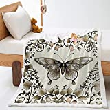 Kuscheldecke Beigebrauner Schmetterling Fleece Decke Weiche Flauschige Lammwolle Mikrofaser Decke 100x150cm Schlafdecke Bettwäsche Wohnzimmer Sofadecke Leicht zu pflegen Warm