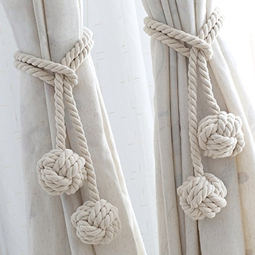 Wazonton Curtain Rope Tiebacks, Hand Knitting Cotton Curtain Tie Holdback Hooks-Decorative Window Holdbacks Tassels Holders for Home Office,1-Pair