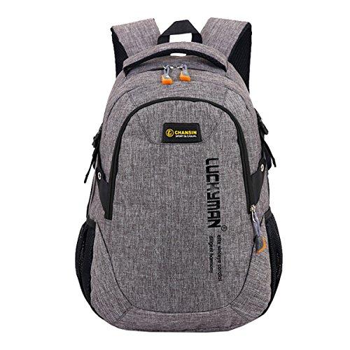 Super Modern Unisex-Schulrucksack aus Nylon, Laptoptasche für Teenager, ob Mädchen oder Jungen, cooler Sportrucksack, Reiserucksack für Männer und Frauen Größe L Grau