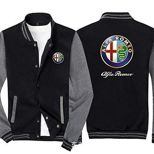 Männer Pullover Jacke - Alfa Romeo Printed Sweatshirt Baseball-Trikot Langarm-Zip Trainingsjacken - Teen Gift Black Gray-XXXXL