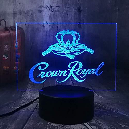 3D nachtlampje nachtlampje Crown Royal Logo Whisky wijnstube kantoor jaar kerstcadeau USB illusie beste cadeau LED touch Kerstmis slaapkamer decoratie verjaardag beste cadeau