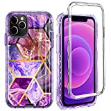 GDTOGRT Full Body Protective Heavy Duty Drop Protection Case Compatible with iPhone 12 Pro Max, Marble Hard Back Soft TPU Shockproof Dual Layer Case Cover for iPhone 12 Pro Max 6.7'-Purple