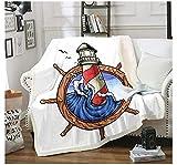 BEDJFH Ola del océano Azul 3D Sherpa Manta Torre del mar Manta de Felpa 180cm x 200cm Manta de Lana Sobrecama para Baby Shower Mantas para Cama Sofá Dormitorio Vivero