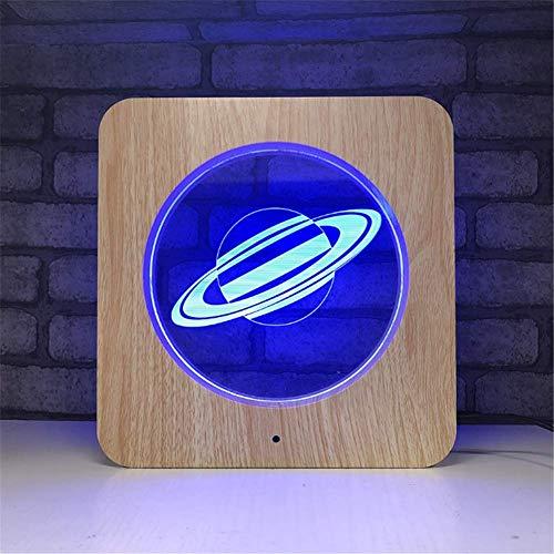 Illusion LED Lampe 3D Cadre photo en bois acrylique avec illumination d'optique en couleur 7 couleurs Veilleuse LED avec télécommande programmée et éclairage de table de bureau tactile Câble USB et al