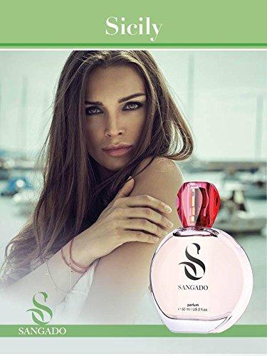 SANGADO Sicily Parfum pour Femme, 8-10 heures Longue durée, Senteur Luxe, Chypré Fruité, Essences Françaises fines, Extra-Concentré (Parfum), 60 ml Spray