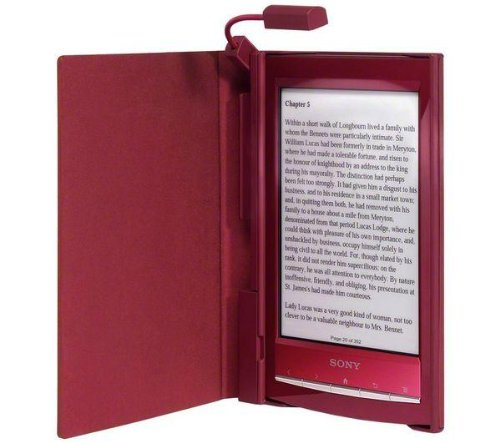 Roter Einband mit integrierter Leuchte für Reader Sony PRS-T1 # Sony PRSA-CL10 # Protective cover with reading light - red