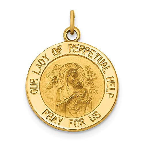 Medalla de oro amarillo de 14 quilates con diseño de Nuestra Señora del Perpetuo Socorro
