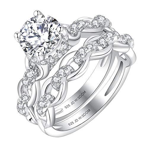 JO WISDOM Damen Ring Silber 925,Hochzeitssets,Unendlichkeit Verlobungsring Hochzeitsring Jubiläumsring Promise Ring mit 7mm 5A Zirkonia, Schmuck für Frauen