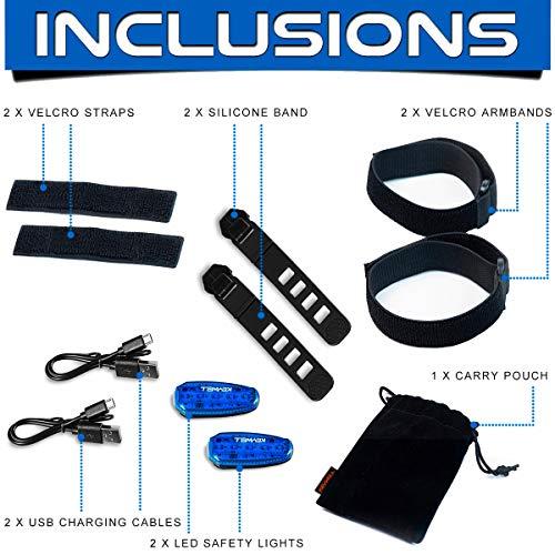 Clip on Strobe Running Lig KEYWELL USB Rechargeable LED Safety Lights 2 Pack