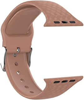 Compatible with Apple Smart Watch Series 1/2/3/4 42mm,Silicone Replacement Watch with Universal Buckle Type 3D Texture Rubber Strap