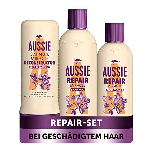 Aussie Haarpflege Set: 1x Repair Miracle Shampoo 300 ml + 1x Pflegespülung 250 ml + 1x Intensivpflege 250 ml, Für Geschädigtes Haar, Shampoo Damen, Mit Jojobasamenöl, Haarpflege Trockenes Haar