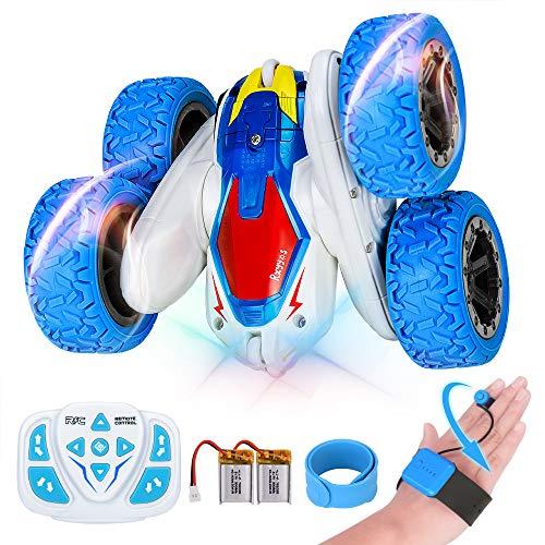 RXYYOS Macchina Telecomandata per Bambini 4WD 360° Rotazione RC Stunt Car con Luci 2 Batteria Ricaricabile USB Gesto e Auto Telecomandata Macchina Acronazia Rotazione Giocattoli