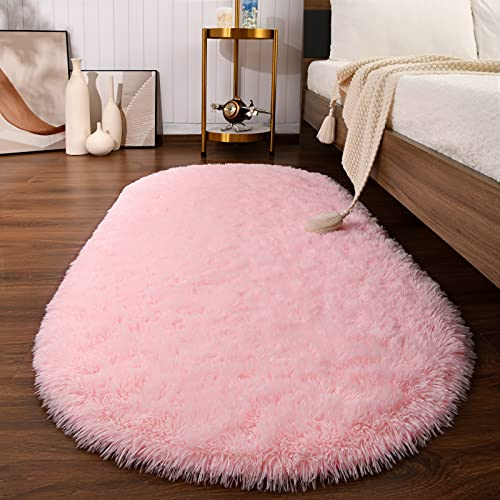 Softlife Fluffy Rugs for Bedroom, Shag Cute Area Rug for Girls and Kids Baby Room Home Decor, 2.6 x 5.3 Feet Oval Indoor Carpet for Nursery Dorm Living Room, Pink