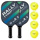 Rally Tyro 2 Pro Pickleball Paddle (2 Paddles / 4 Ball Bundle - Ocean Blue)