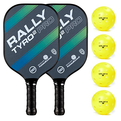 Rally Tyro 2 Pro Pickleball Paddle (2 Paddles / 4 Ball Bundle - Ocean Blue)