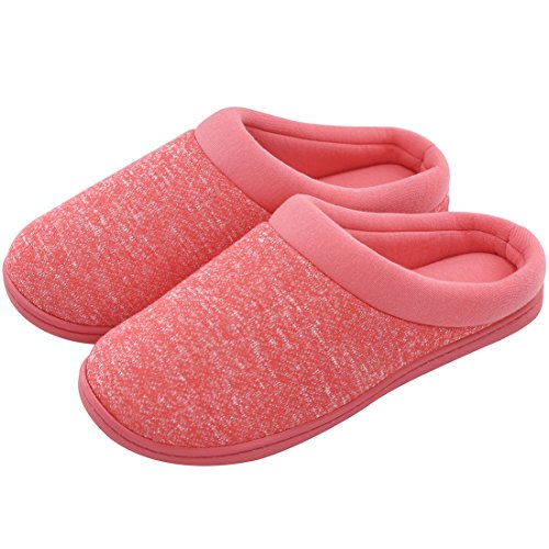 Women's Comfort Slip On Memory Foam French Terry Lining Indoor Clog House Slippers (Large / 9-10 B(M) US, Red)