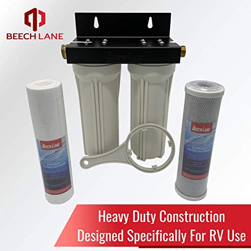 Beech Lane External RV Dual Water Filter System, Leak-Free Brass...