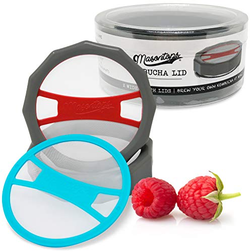 Masontops Kombucha Lid - Home Brewing Mason Jar Supplies - Live Organic Kombucha Making Starter Kit - Scoby Not Included 2-Pack