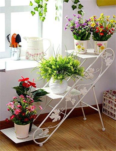 ZENGAI Étagère de plancher à 3 niveaux, porte-pot, support de plante, étagère de fleur pour le salon, intérieur et extérieur (Couleur : Blanc)