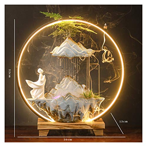 YIFEI2013-SHOP Indoor Water Fountain Zen Lucky Water Fountain Landscape Object Living Room Entrance Office Desktop Humidifier Opening Housewarming Gift Decorative Fountain (Color : A)