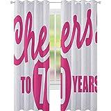 Cortinas de 70 cumpleaños para sala de estar con caligrafía a 70 años de edad, imagen de fiesta de cumpleaños, impermeable, 132 x 160 cm, color rosa y negro
