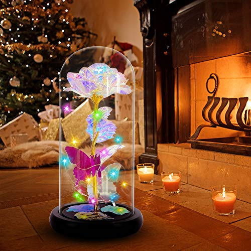 Gifts for Women Kids on Christmas Galaxy Rose for Girls Daughter,Crystal Rose with Colorful Led Decor,Best Gifts for Her,Wife,Mothers Day Xmas Wedding,Valentine,Anniversary and Birthday