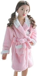 ZXJ Albornoz niños, niñas Espesar Coral Bata Bata de Franela Dormir Albornoz Bata para los Bebés Niños Niñas,Rosado,12