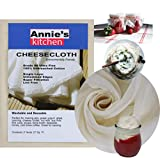 Annie's Kitchen Cheesecloth, Grade 90, 27 Sq Feet, 100% Unbleached Cotton Fabric, Ultra Fine cheese cloths for cooking, Straining, Crafting, Cleaning, Arts and Crafts, Holiday Celebrations, Reusable
