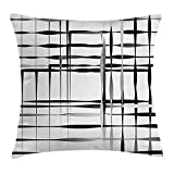 JIMSTRES Modern Art Home Decor Throw Pillow Cushion Cover, Minimalist Image with Simplistic Spaces and Spare Asymmetric Grids, Decorative Square Accent Pillow Case, Black White 18x18 inches