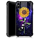 iPhone XR Case,Sunflower Panda Satrry iPhone XR Cases for Girls,Tempered Glass Back Cover Anti Scratch Reinforced Corners Soft TPU Bumper Shockproof Case for iPhone XR Nebula Night Sky