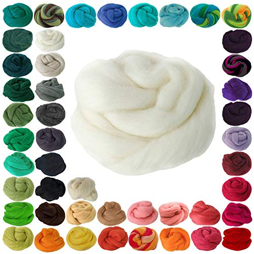 25g Filzwolle Märchenwolle Nassfilzen Trockenfilzen, unterschiedliche Farben, Farbe:weiß