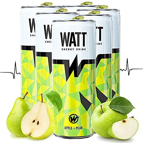 WATT Energy Drinks 6 x 250 ml mit Apfel-Birnen Geschmack | mit Grüner Tee Extrakt | OHNE Pfand Dosen Getränke | Energy für Arbeit, Sport und Gaming
