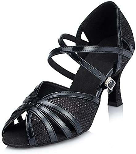 T.T-Q Semelle en Daim pour Femme Chaussures de Danse Moderne Heel noir baskets Tap noir