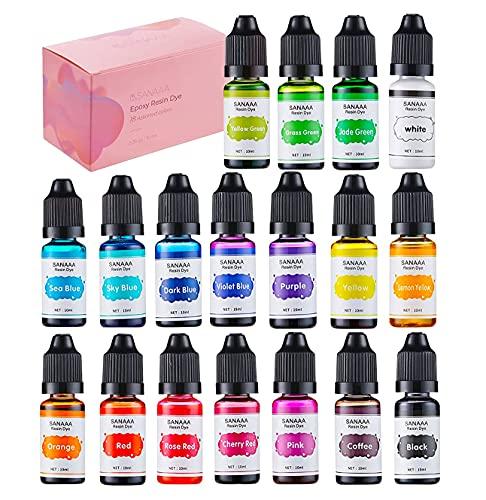 Vibrante Colorant Resine Epoxy - Peinture Transparente Liquide de 18 Couleurs pour bijoux en résine, fabrication d'art de bricolage