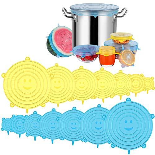 Modohe Tapas de Silicona Elásticas, 14 Tapas Silicona Ajustables Cocina, Reutilizable Fundas Protectoras para Alimentos Tapa Tazas, Boles o Tarros,Tapa del tazón, Lavavajillas, Microonda, Sin BPA