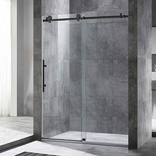 "WOODBRIDGE Frameless Sliding Shower Door, 56""-60"" Width, 76"" Height,3/8""(10 mm) Clear Tempered Glass, MBSDC6076-B Brushed Nickel, 60"" x 76"""