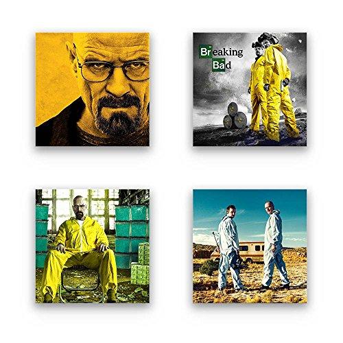 Breaking Bad Bilder Set A, Wandbilder mehrteilig, 4-TLG. Fan-Bilder Set, je 29x29cm klein, Schwebende Optik. Fine-Art-Druck auf Forex. Deko-Bilder für Büro, Wohnzimmer, Jugendzimmer