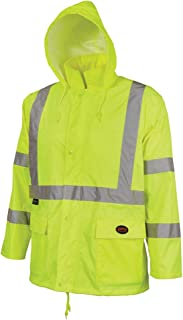 Pioneer High Visibility Rain Gear Safety Jacket and Bib Pants – Hi Vis, Waterproof, Reflective PVC Work Suit for Men – Orange and Yellow/Green