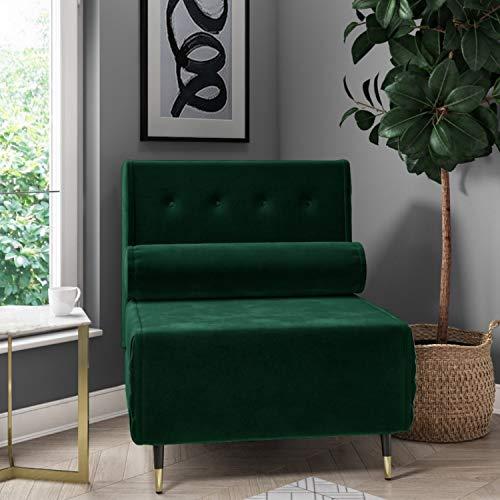 Eleni Single Sofa Bed in Dark Green Velvet with Bolster Cushion