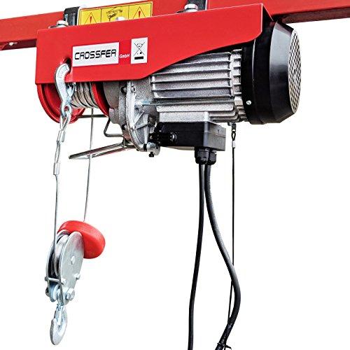 CROSSFER PA800YT Elektrischer Seilhebezug 230Volt für 400kg/800kg Last Seilwinde mit Umlenkrolle als Flaschenzug Seilzug 18 Meter Hubhöhe Hebezug Lastkran
