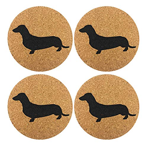 Dachshund Weiner Dog Gift Cork 4 Pack Drink Coasters Set - Basic Design Wiener Dog Decor - Perfect Decoration for Doxie Lovers